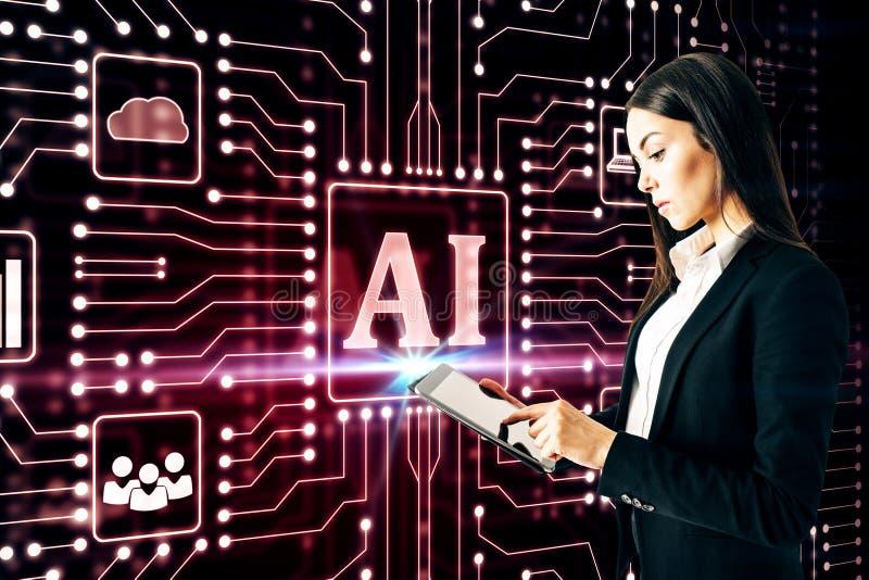 Femme d'affaires employant l'interface d'AI images stock