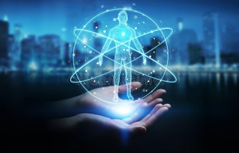 Femme d'affaires employant l'interface numérique 3D r de balayage de corps humain de rayon X illustration de vecteur