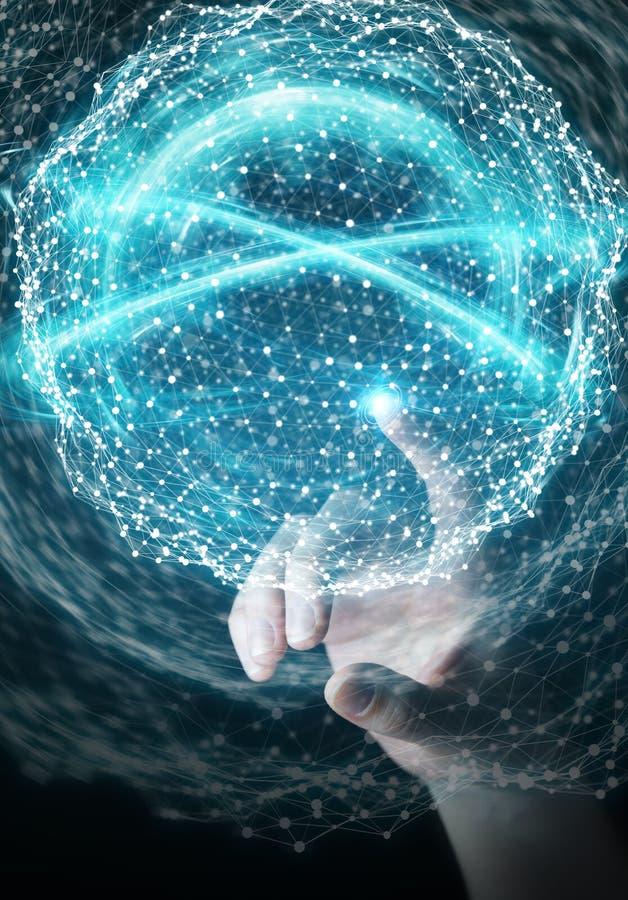 Femme d'affaires employant le renderi numérique de la sphère 3D de connexion réseau illustration libre de droits