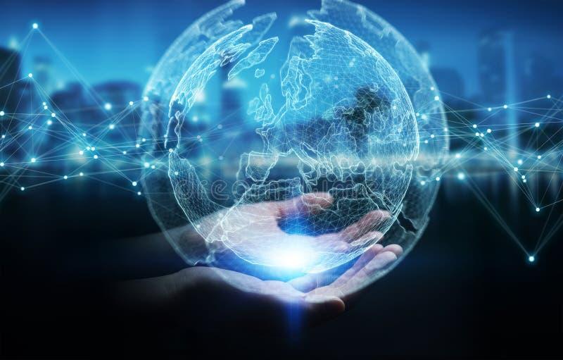 Femme d'affaires employant le rendu de la sphère 3D de réseau de la terre de planète illustration libre de droits