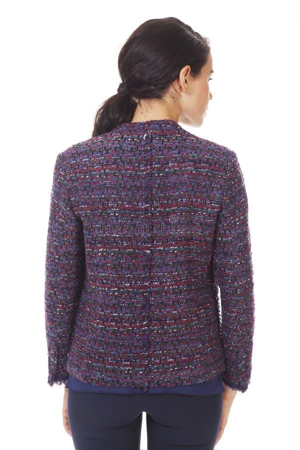 Femme d'affaires en veste officielle en laine avec ceinture fermée photo photographie stock libre de droits