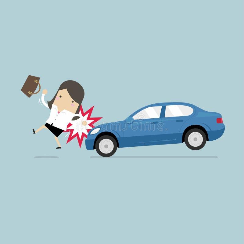 Femme d'affaires environ à heurter en une voiture, sécurité routière illustration stock