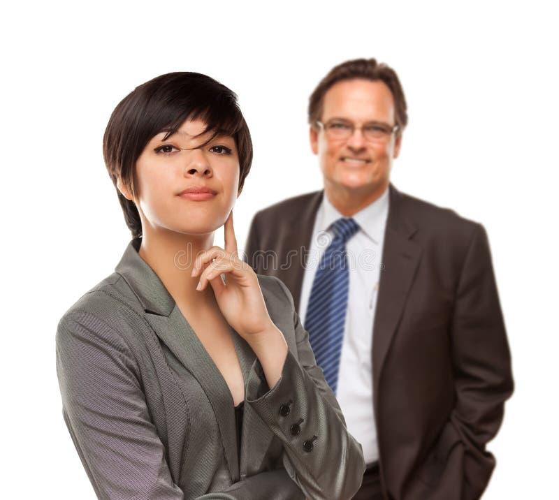 Femme d'affaires et homme d'affaires attirants sur le blanc photos libres de droits