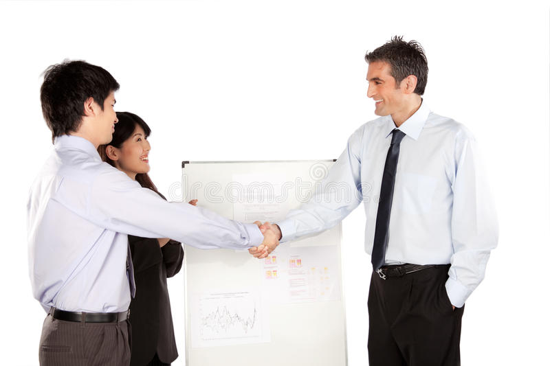 Femme d'affaires et homme d'affaires Shaking Hand images stock