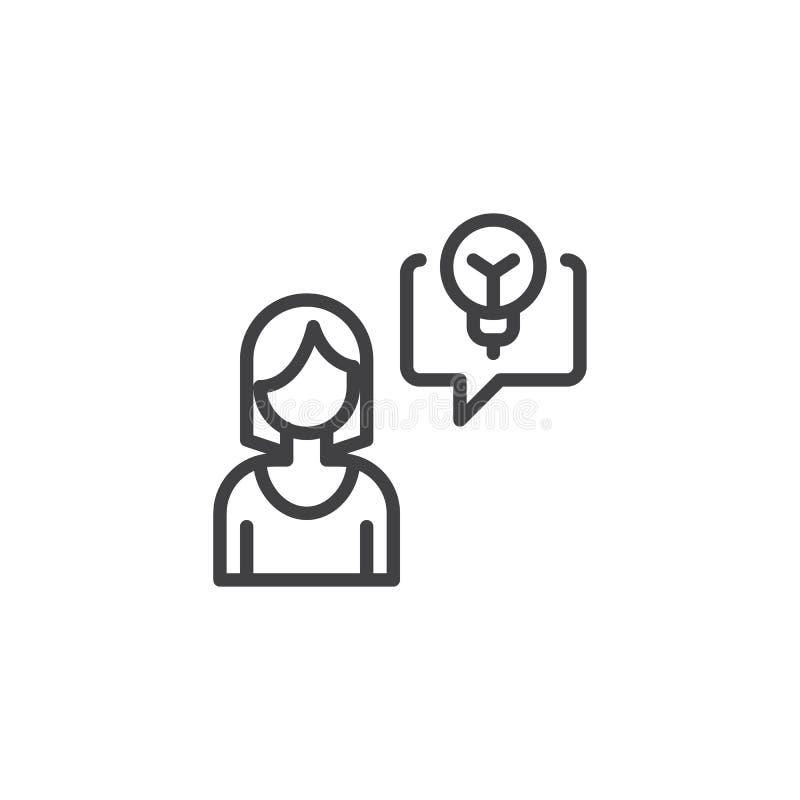 Femme d'affaires et ligne icône d'idée illustration de vecteur