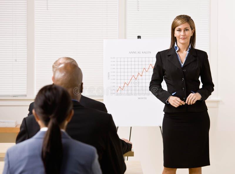 Femme d'affaires expliquant le diagramme d'analyse financière image libre de droits