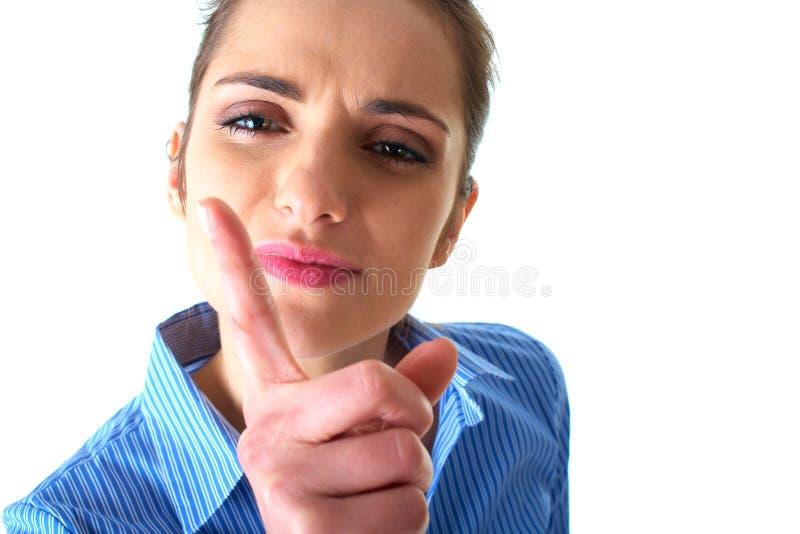 Femme d'affaires fâchée d'isolement sur le blanc photo stock