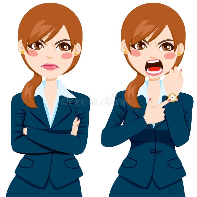 Femme d'affaires fâchée Late Concept illustration stock
