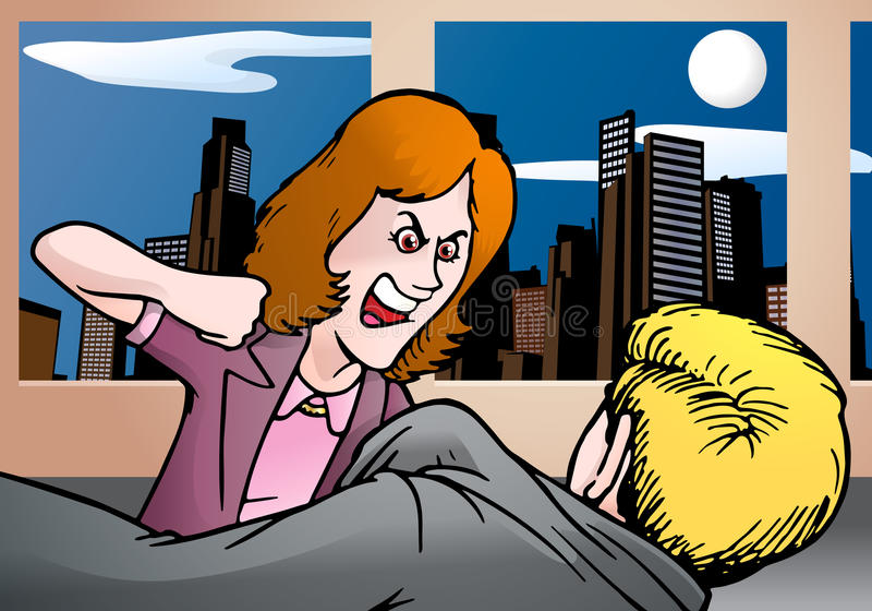 Femme d'affaires fâchée prête à heurter son bossage illustration libre de droits