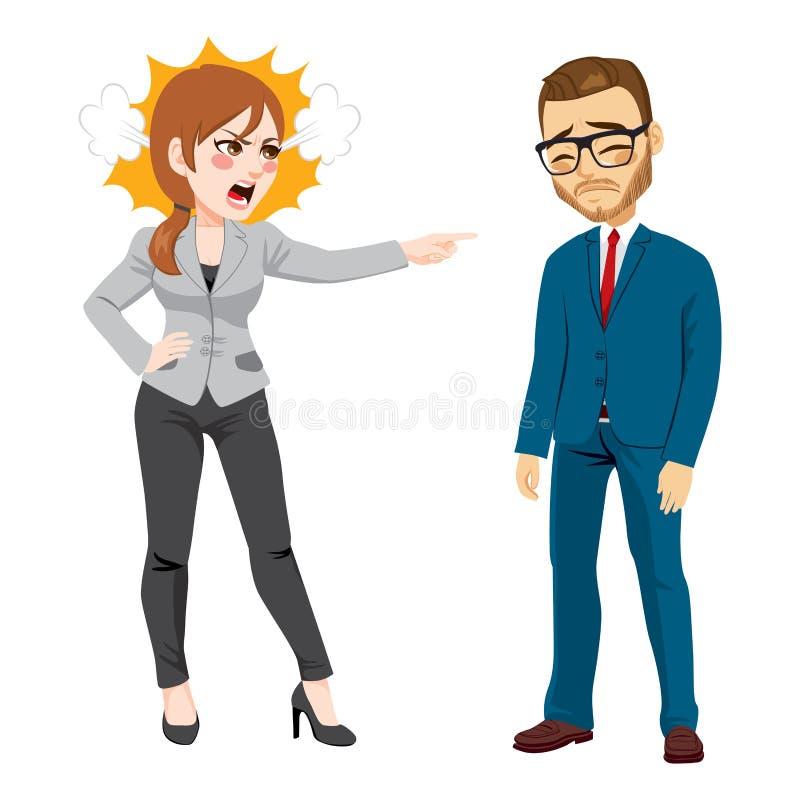 Femme d'affaires Firing Businessman illustration stock