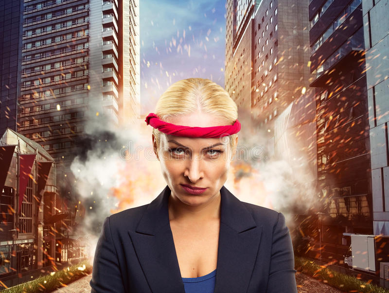 Femme d'affaires furieuse photo stock