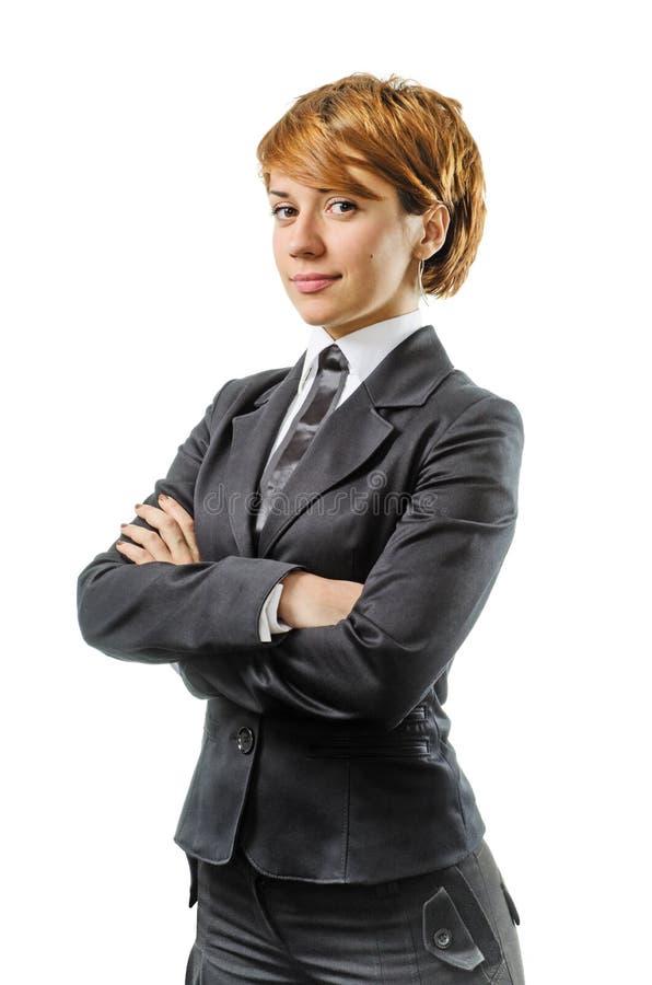 Femme d'affaires gaie sur un blanc photo libre de droits