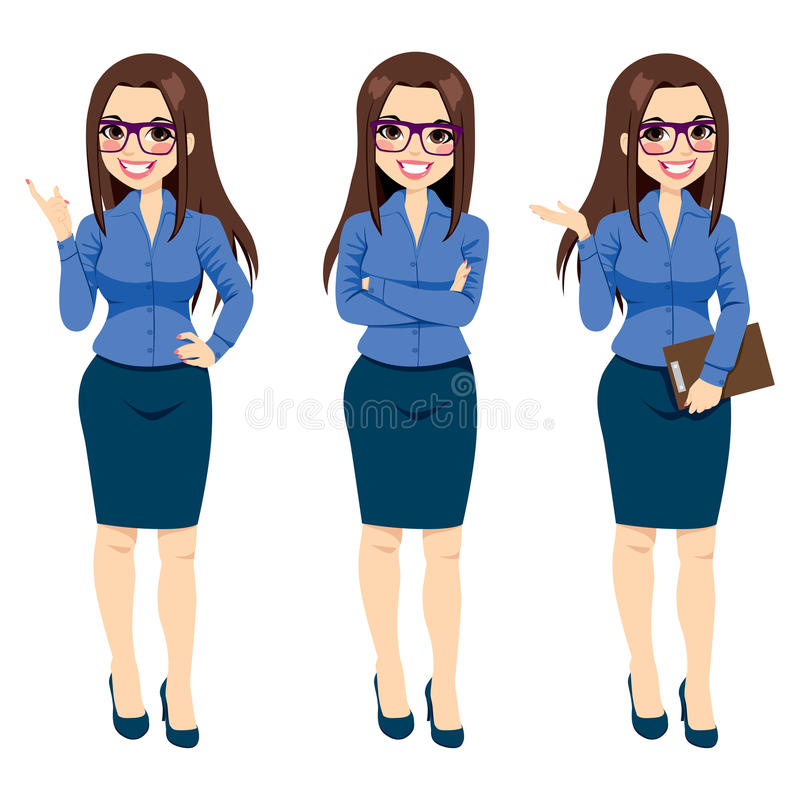 Femme d'affaires With Glasses Gestures illustration stock