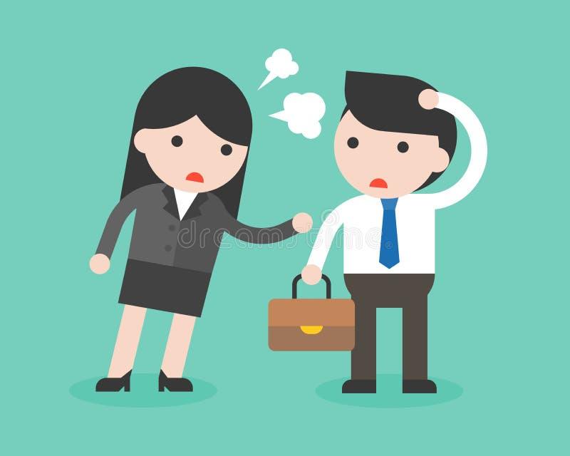 Femme d'affaires grondant sur l'homme d'affaires naïf et muet avec fâché illustration libre de droits