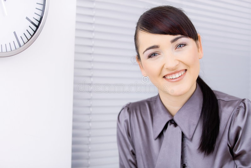 Download Femme d'affaires heureuse photo stock. Image du brunette - 8672794