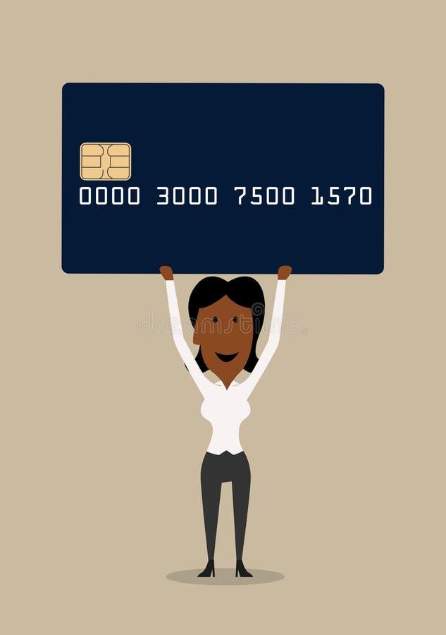 Femme d'affaires heureuse avec la carte de crédit illustration de vecteur