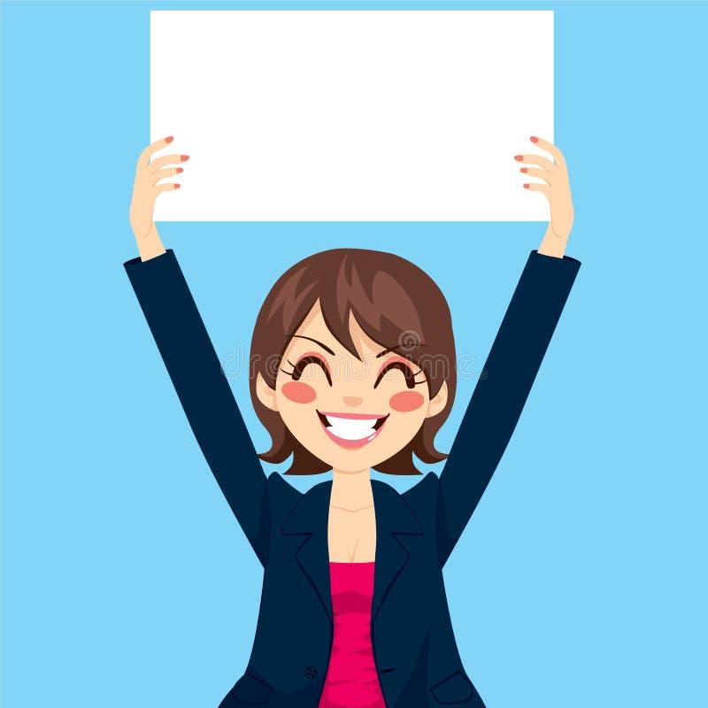 Femme d'affaires Holding White Board illustration stock