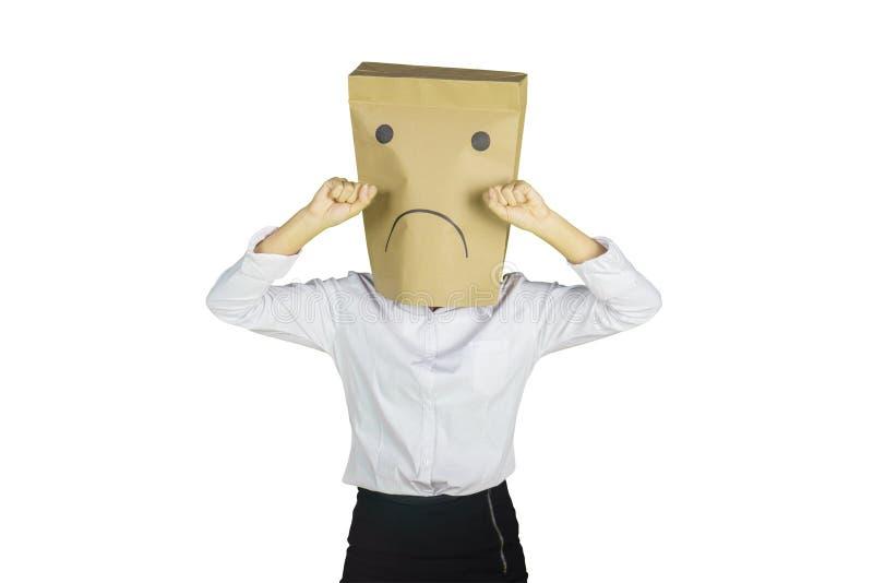 Femme d'affaires inconnue pleurant dans le studio photo stock