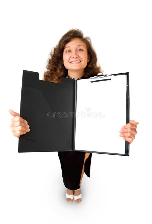 Femme d'affaires jugeant une tablette d'isolement photo stock
