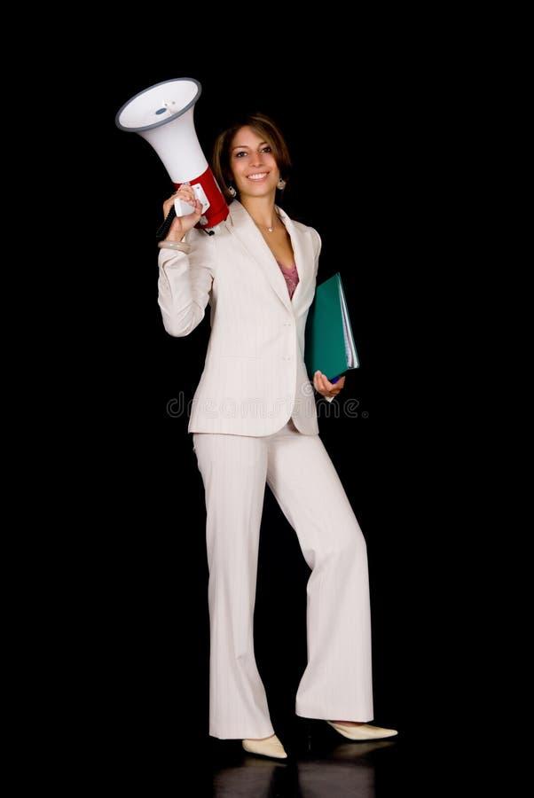 Femme d'affaires, mégaphone images libres de droits