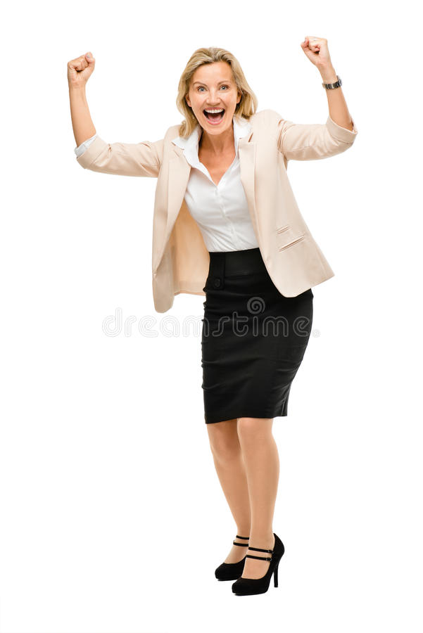 Femme d'affaires mûres célébrant le succès o d'isolement intégral photos stock