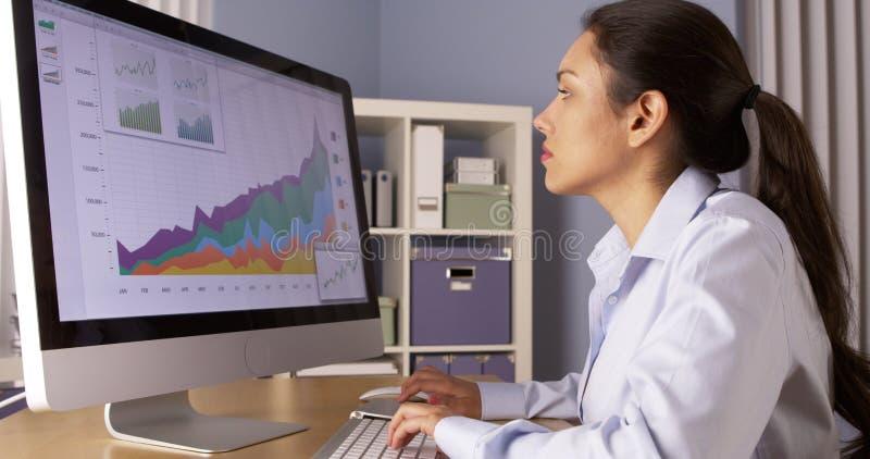 Femme d'affaires mexicaine travaillant des heures supplémentaires photos stock