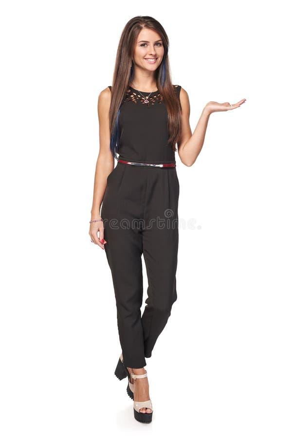 Femme d'affaires montrant l'espace vide de copie image libre de droits