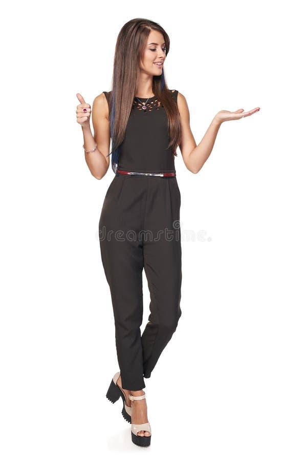 Femme d'affaires montrant l'espace vide de copie image stock