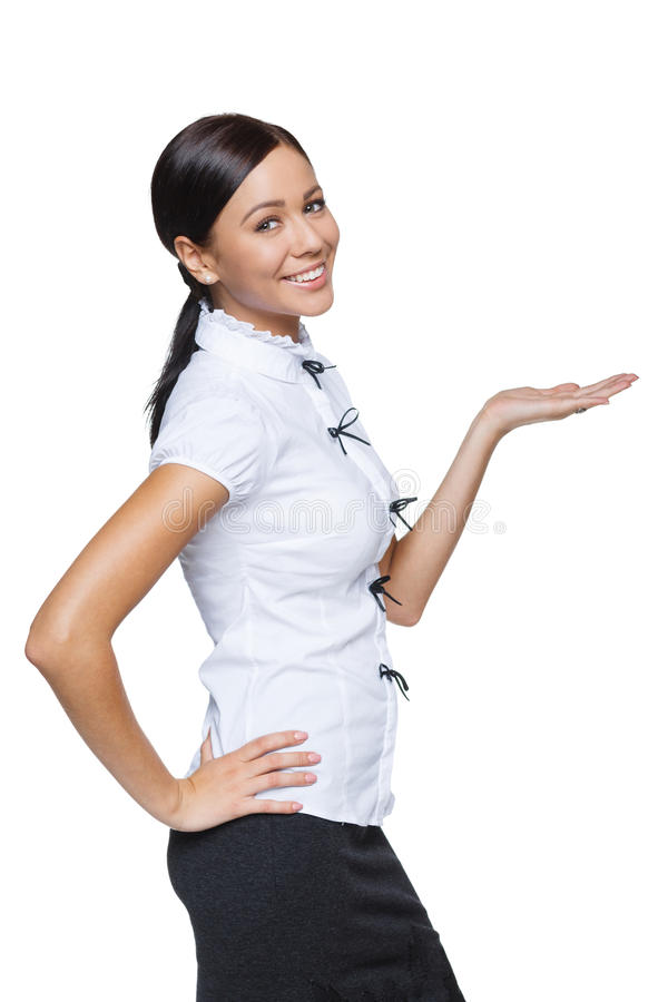 Femme d'affaires montrant l'espace vide de copie photo libre de droits