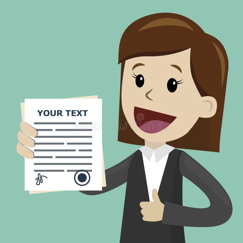Femme d'affaires ou directeur tenant un contrat ou un document différent avec la signature Heureux, sourire illustration libre de droits