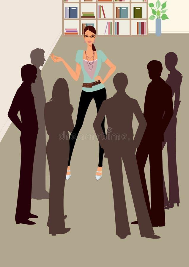 Femme d'affaires parlant au contact de bureau de collègue illustration libre de droits