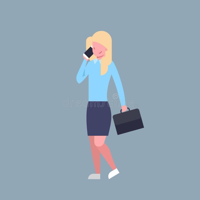 Femme d'affaires parlant sur la femme d'affaires féminine Corporate Isolated d'employé de bureau de téléphone intelligent de cell illustration de vecteur