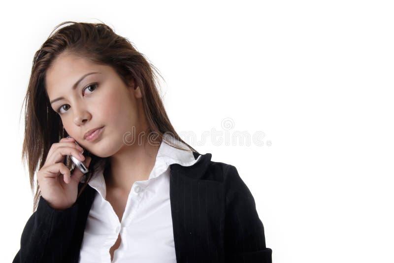 Femme d'affaires parlant sur le téléphone portable images stock