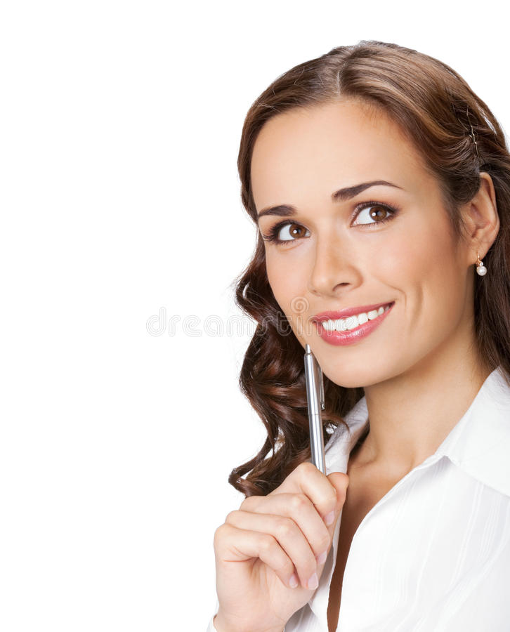 Femme d'affaires pensante, sur le blanc photo stock