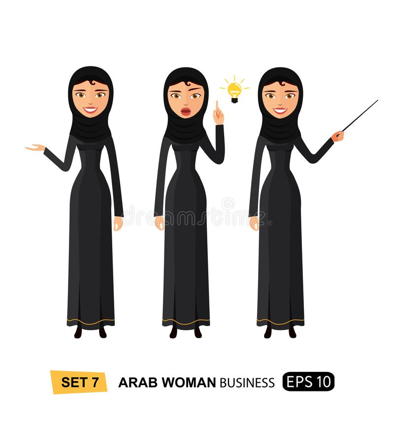 Femme d'affaires présent quelque chose pour avoir une idée d'isolement sur la bande dessinée plate blanche de vecteur illustration stock