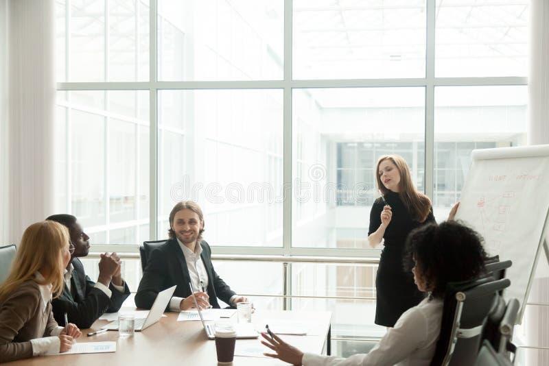 Femme d'affaires présentant l'exposé pour l'équipe d'entreprise multiraciale image stock
