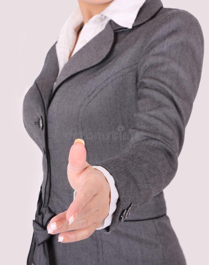 Femme d'affaires prêt à la prise de contact image libre de droits