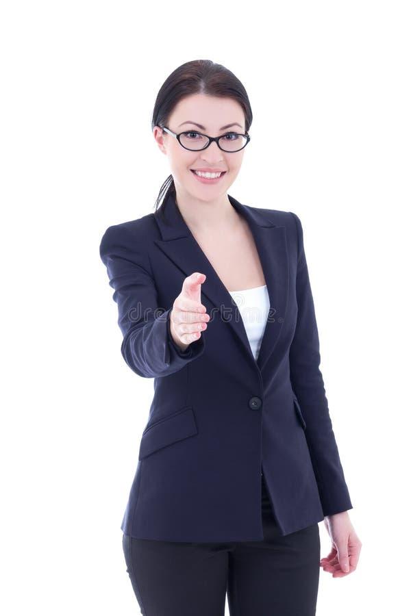 Femme d'affaires prête à la poignée de main d'isolement sur le blanc image stock