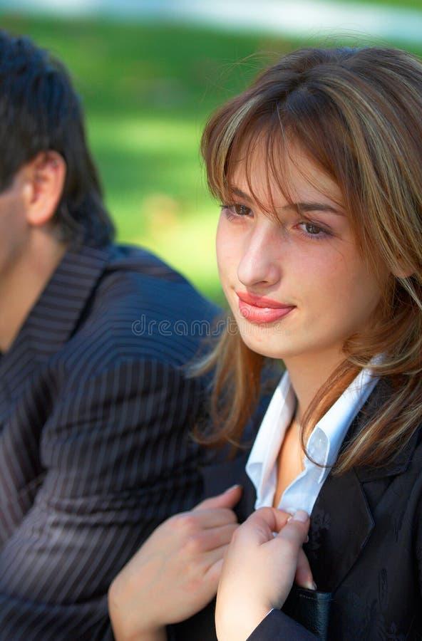 Femme d'affaires profondément dans la pensée images libres de droits