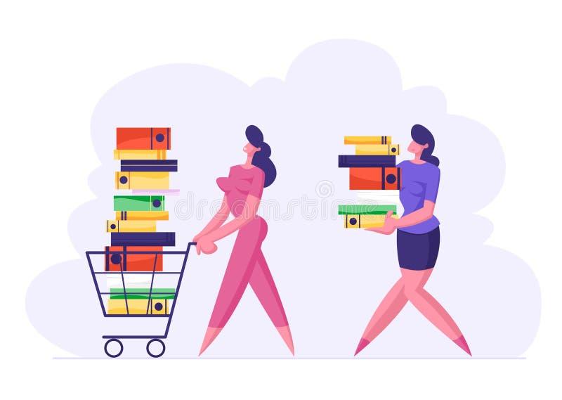 Femme d'affaires Pushing Shopping Cart plein de la documentation Femme Carry Big Stack des dossiers de documents illustration stock