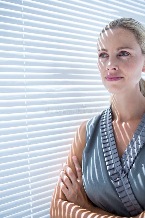 Download Femme D'affaires Réfléchie Se Tenant Dans Le Bureau Photo stock - Image du indoors, sérieux: 56483366