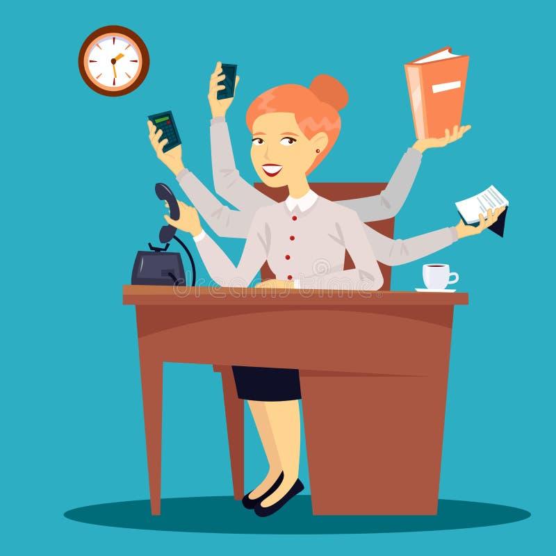 Femme d'affaires réussie Dame multitâche d'affaires illustration libre de droits
