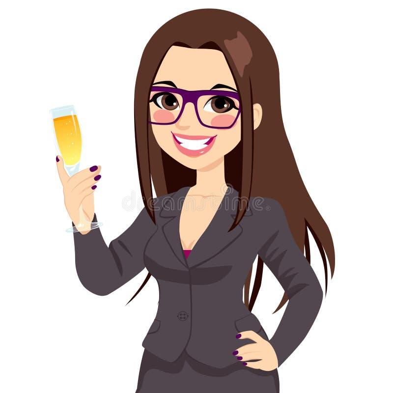 Femme d'affaires réussie Toasting Champagne de brune illustration de vecteur