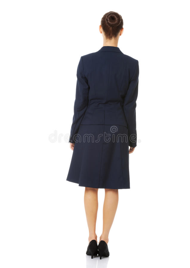 Femme d'affaires reculant image stock