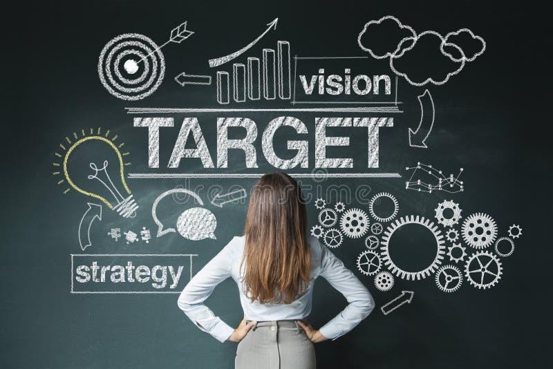 Femme d'affaires regardant le croquis de stratégie image libre de droits