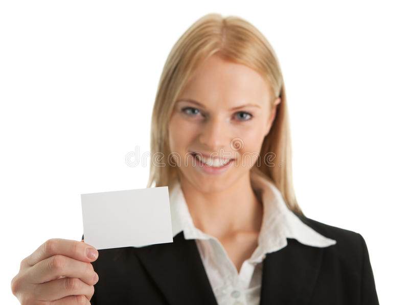 Femme d'affaires retenant la carte vierge photos libres de droits