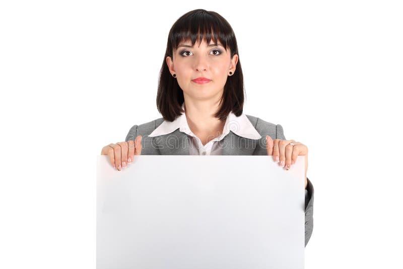 Femme d'affaires retenant le livre blanc images libres de droits
