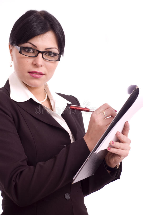 Femme d'affaires retenant un fichier photos libres de droits