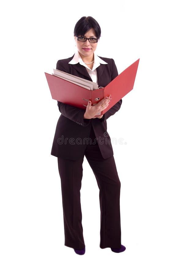 Femme d'affaires retenant un grand support de fichier image libre de droits