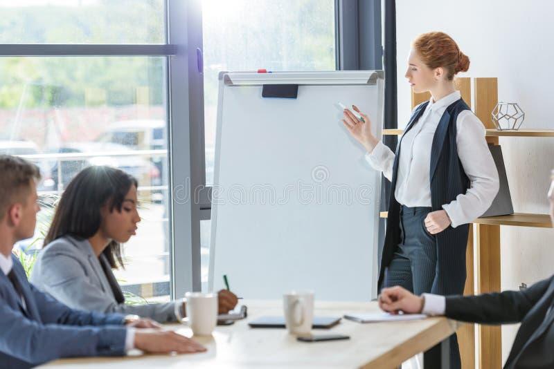 Femme d'affaires sûre présent son idée par le tableau de conférence aux collègues image stock